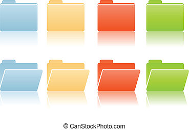 file folders with place for label in blue, red, yellow,...