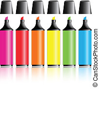 Highlighter pens isolated over a white background with...