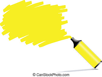 Highlighter pen with scribbles on a blank piece of paper,...