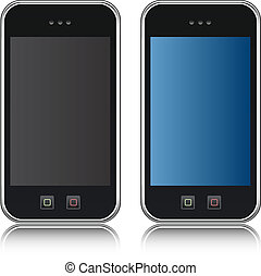 Vector Handphone Cellular Phone Isolated on Black Background...