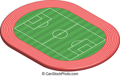 3 dimensional football field pitch along with racetrack