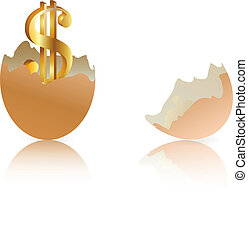 Investment concept  with brown egg shells isolated