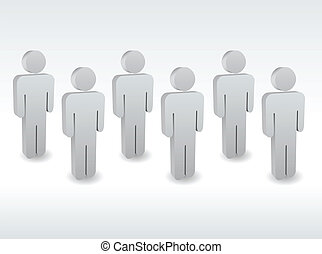 A group of characters standing one by one
