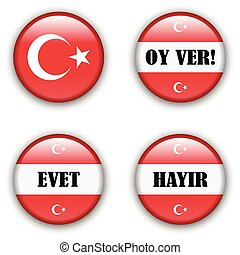 yes or no vote badge button for turkish referendum election...