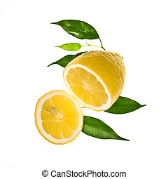 Ripe Slice of lemon with leaves - Half of lemon with leaves,...