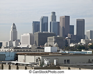 Downtown Los Angeles - View across rooftops towards the...