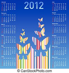 Stylish calendar with  butterflies for 2012. Week starts on Sunday.