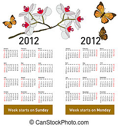 Stylish calendar with flowers and butterflies for 2012. Week starts on Monday.