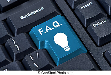 Button with icon lamp, F.A.Q. internet concept.