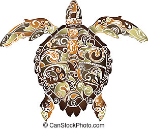 Turtle - Illustration of abstract turtle isolated on white