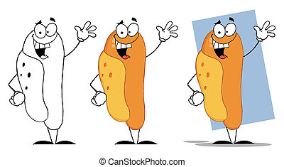 Lucky Hot Dog Waving A Greeting