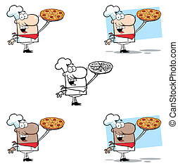 Chef Presenting His Pizza Pie.Collection