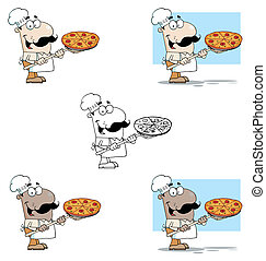 Chef Carrying A Pizza Pie On A Stove ShovelVector Collection...