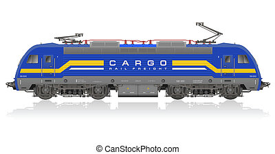 Blue electric locomotive - High detailed photorealistic...