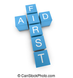 First aid 3D crossword on white background