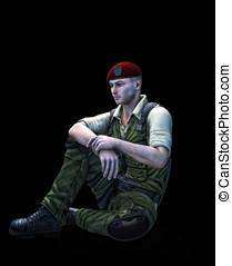 Soldier sitting Black Background - Universal Soldier sitting...