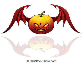 Halloween pumpkin with wings - Smiling Halloween pumpkin...