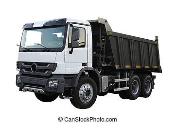Dump-body truck under the white background