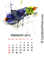 Calendar for 2012 with vegetables, february