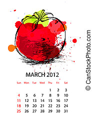 Calendar for 2012 with vegetables, march