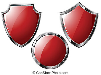 Set of red steel shields - isolated on white