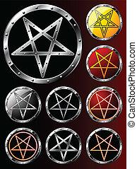 Set of Pentagrams - Set of steel shields with pentagram...