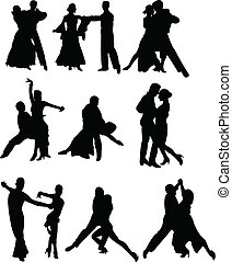dance couple - Collection of dancing people silhouettes -...