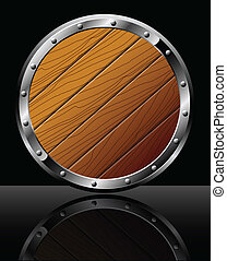 Round wooden shield - isolated on black