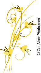 Yellow flowers with shadows - vecto - Three yellow flowers...