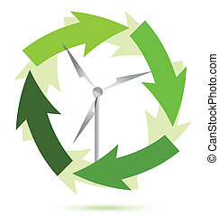 Wind mill wind power illustration design