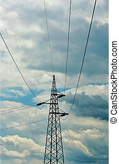 Electricity pylons with long cable at a cloudy day