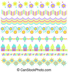 trim collection with flowers, hearts, houses - Colorful trim...