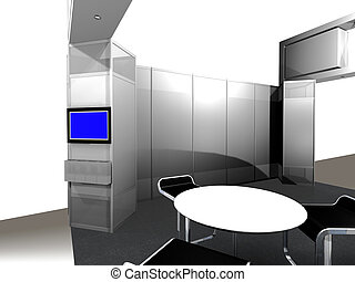 Inside of an exhibition Booth - 3d render of inside view of...