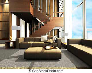 Sofa area of a modern living room by 3D rendering