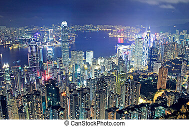 hongkong night and modern buildings