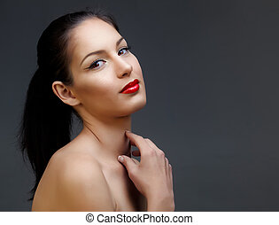 beautiful woman with red lipstick - beautiful woman with...