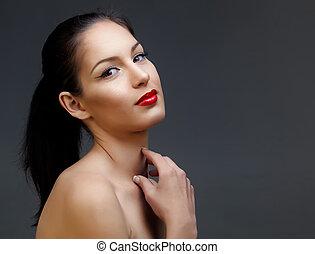 hermoso, mujer, rojo, lápiz labial