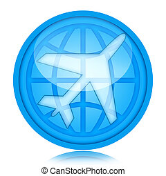 Aircraft icon with airplane and globe inside glass sphere...