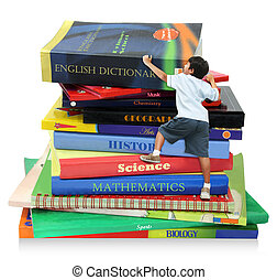 Reaching to the Top - A boy climbing the books, as symbol of...