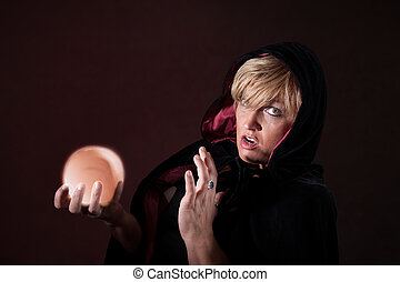 Surprised Fortuneteller - Caucasian female fortuneteller...