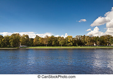 Sunny landscape. - Panoramic landscape view and clear blue...