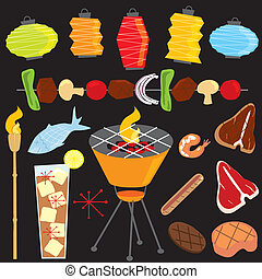Retro Evening Barbeque Party - Set of retro clipart bbq...