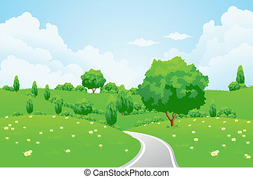Green Landscape with hill tree road and flowers for your...