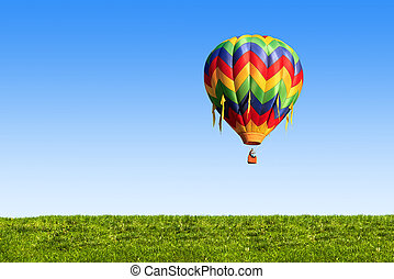 hot air balloon - colorful hot air balloon over blue sky