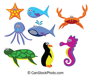 sea animals - vector sea animals