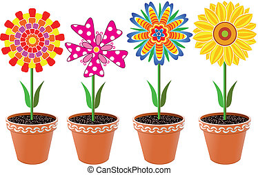 flowers in pots - vector flowers in pots