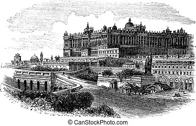 The Royal Palace of Madrid in Spain vintage engraving - The...