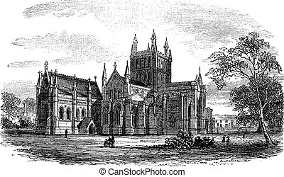 Hereford Cathedral,England vintage engraving. Old engraved...