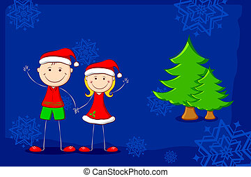 Kids enjoying Christmas - illustration of kids in christmas...