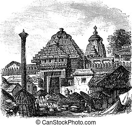 Jagannath temple in Puri Odisha India vintage engraving -...